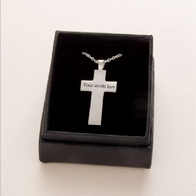 Engraved Silver Cross, Memorial Necklace | Someone Remembered